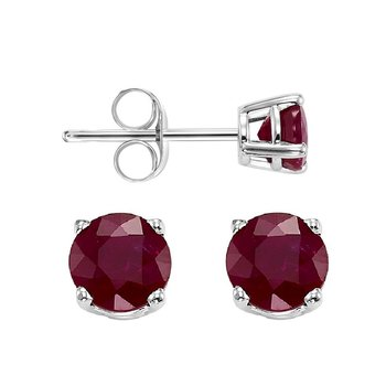 Four Prong Garnet Studs in 14K White Gold (5 MM)