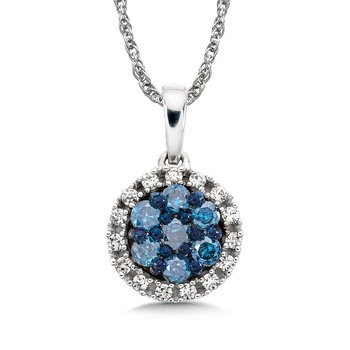 Pave set Blue and White Diamond Halo Pendant, 10k White Gold  (1/3 ct. tw.)