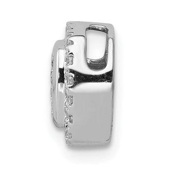 14k White Gold 1/3ct. Diamond Square Cluster Chain Slide Pendant