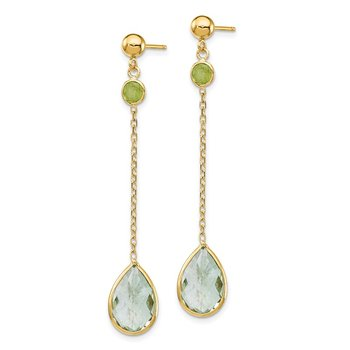 14K Peridot and Green Quartz Post Earrings