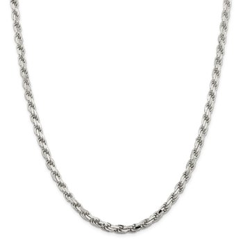 Sterling Silver 5.75mm Diamond-cut Rope Chain