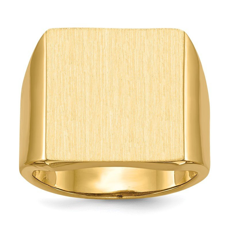 Quality Gold 14k 17.5x16.5mm Open Back Mens Signet Ring