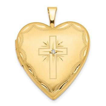 14ky 20mm Diamond Satin & D/C Cross Heart Locket