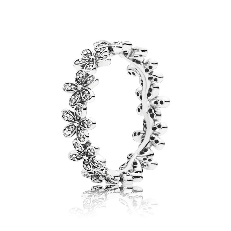 PANDORA Dazzling Daisy Meadow Stackable Ring, Clear Cz