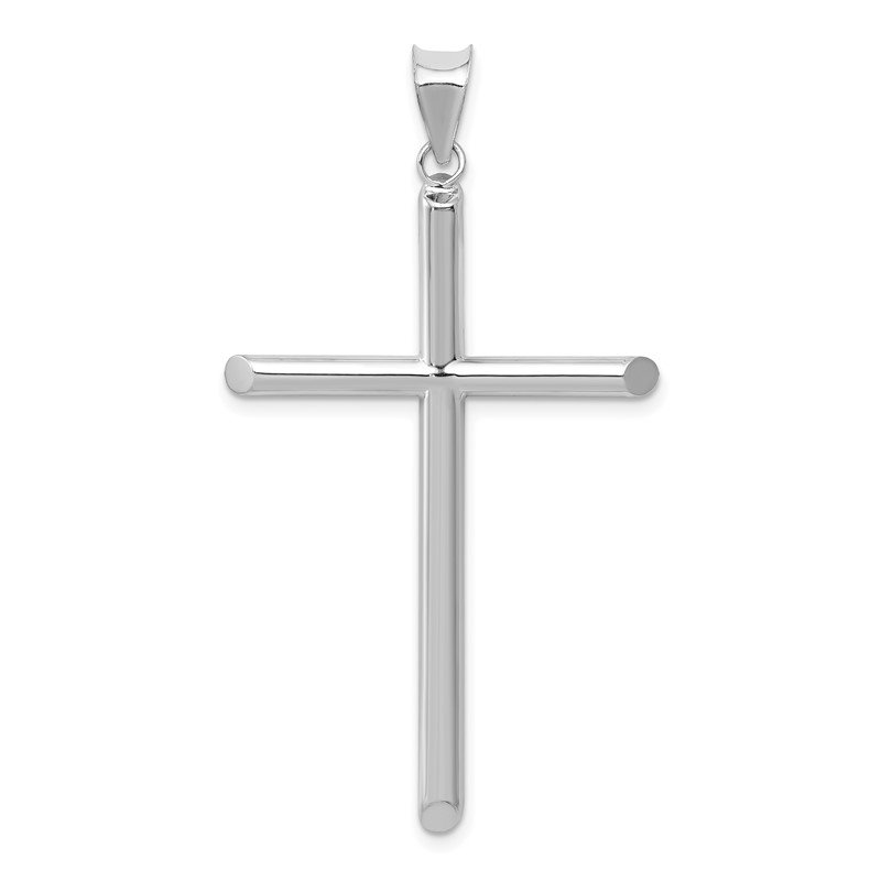 Quality Gold 14k White Gold Polished Hollow Cross Pendant