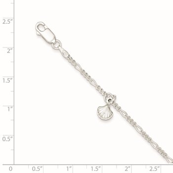 Sterling Silver Polished Shell 9in Plus 1in Ext. Anklet