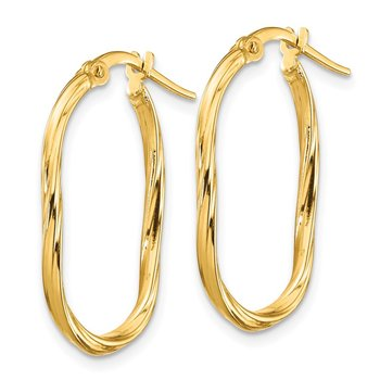 14K Small 2x2mm Textured Oval Hoop Earrings