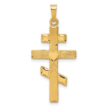 14K Eastern Orthodox Cross w/Heart Pendant