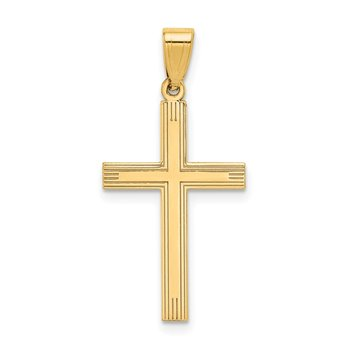 14k Polished Laser Etched Cross Charm