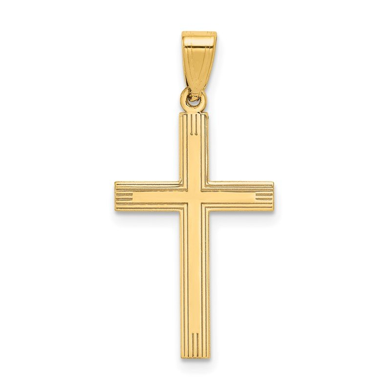 Quality Gold 14k Polished Laser Etched Cross Charm