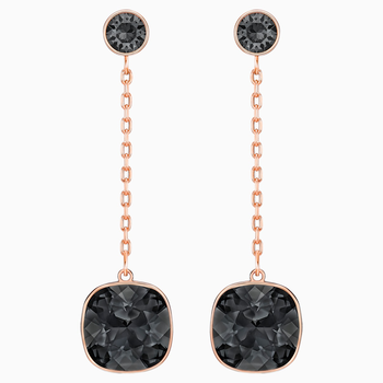 Lattitude Chain Pierced Earrings, Black, Rose-gold tone plated