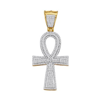 10kt Yellow Gold Mens Round Diamond Ankh Flared Cross Charm Pendant 1.00 Cttw