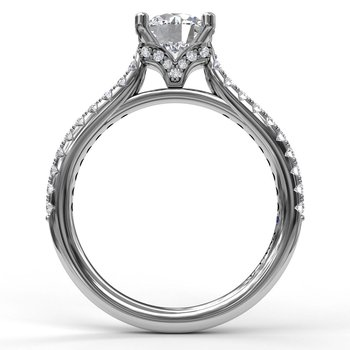 Delicate Classic Engagement Ring with Delicate Side Detail