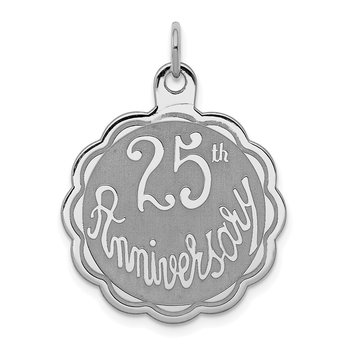 Sterling Silver Rhodium-plated 25th Anniversary Disc Charm