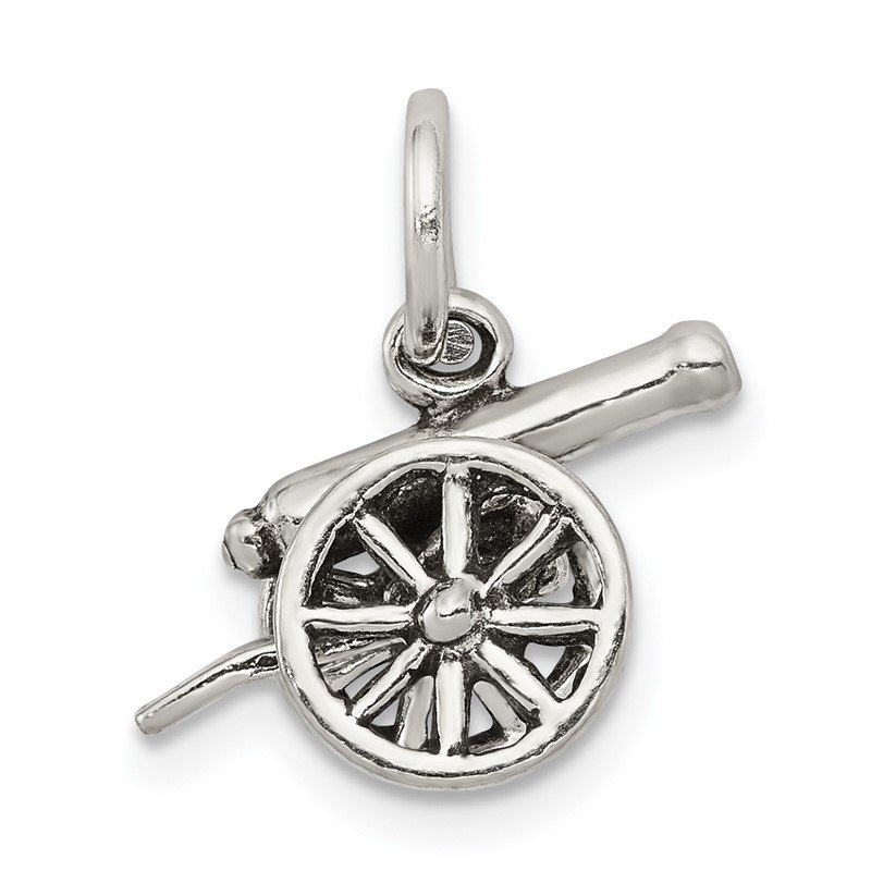 Quality Gold Sterling Silver Antiqued Cannon Charm