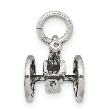 Sterling Silver Antiqued Cannon Charm