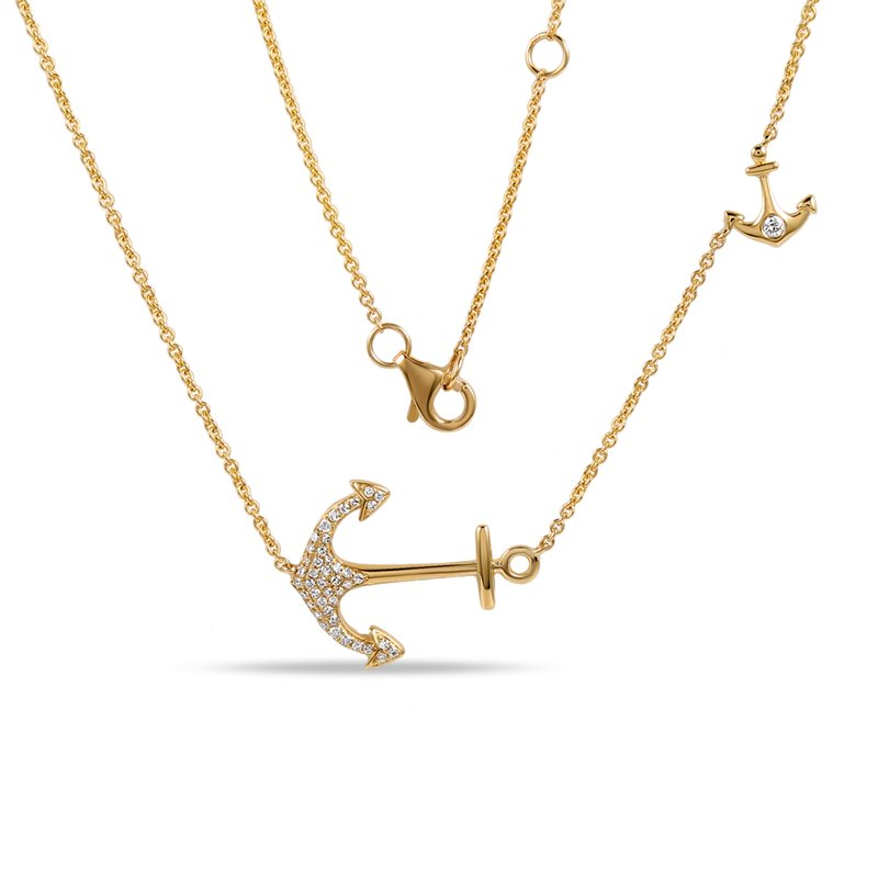 Shula NY 14K sideways anchor necklace with 44 diamonds 0.15c tw 18""