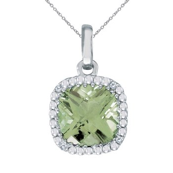 14k White Gold Cushion Cut Green Amethyst And Diamond pendant