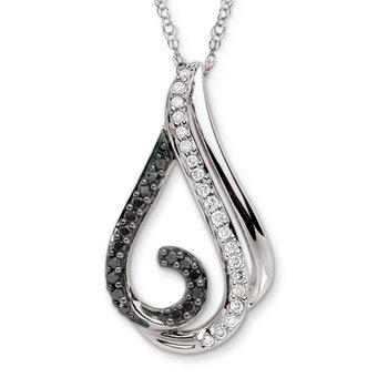 Pave set Black and White Diamond Free-form Wave Pendant, 14k White Gold  (1/6 ct. dtw.)