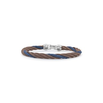 Bronze Cable & Blue Leather Modern Twist Bracelet