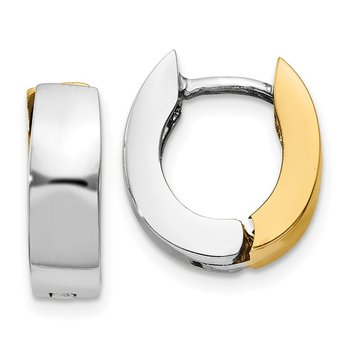14k Two-tone Polished Hinged Hoop Earrings