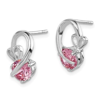 Sterling Silver Rhodium-plated Pink CZ Heart Post Earrings