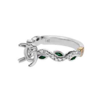 White Gold & Emerald Engagement Ring