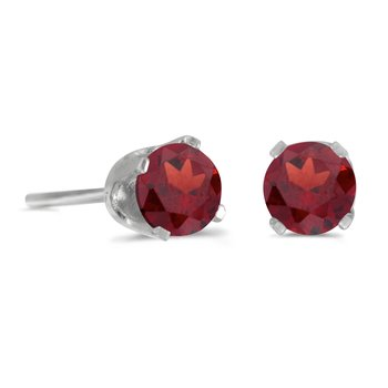 4 mm Round Garnet Screw-back Stud Earrings in 14k White Gold