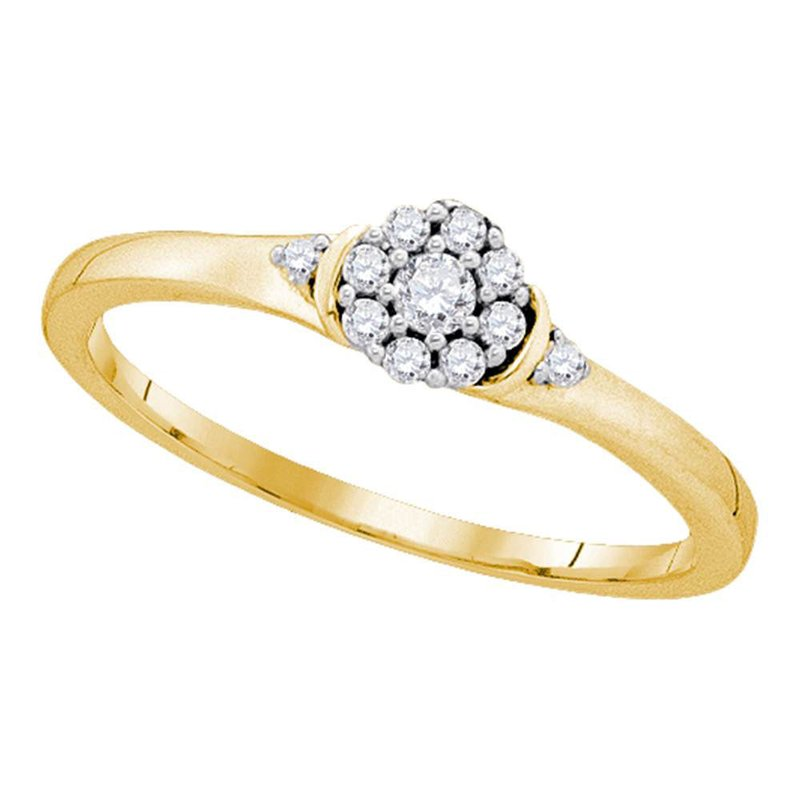 Kingdom Treasures 10kt Yellow Gold Womens Round Diamond Cluster Promise Bridal Ring 1/6 Cttw