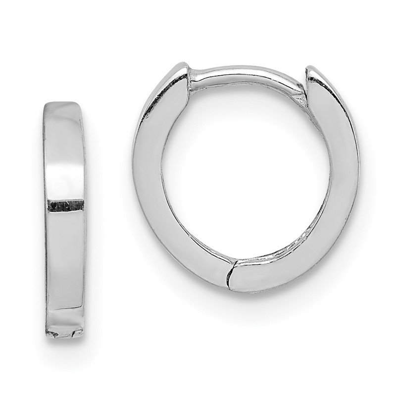 Quality Gold Sterling Silver Rhodium Polished Hinged Hoop Earrings