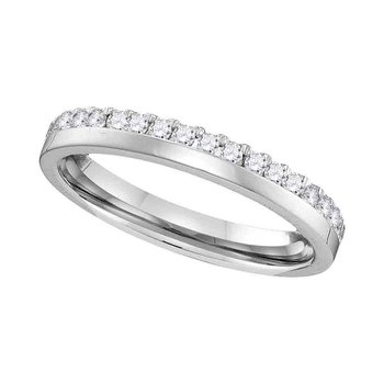 14kt White Gold Womens Round Diamond Wedding Band Ring 1/5 Cttw