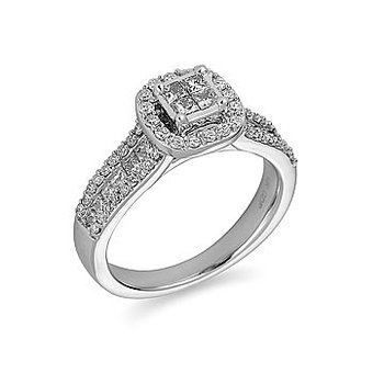 14K WG Diamond Engagement Ring Quad Center