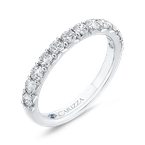 Carizza Round Diamond Half-Eternity Wedding Band In 14K White Gold