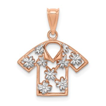 14K Rose & White Rhodium Brushed & Polished Plumeria Shirt Pendant