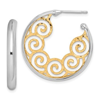 Sterling Silver RH plated & Gold-plated 28x3.5 Swirl Hoop Post Earrings