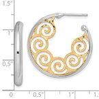 Quality Gold Sterling Silver RH plated & Gold-plated 28x3.5 Swirl Hoop Post Earrings