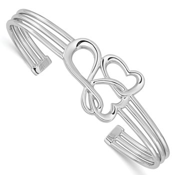 Sterling Silver Rhodium-plated Hearts and Infinity Cuff Bangle