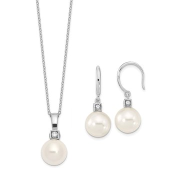Sterling S Majestik Rh-pl 10-11mm Wht Imitat Shell Pearl & CZ Ear & Neck Se