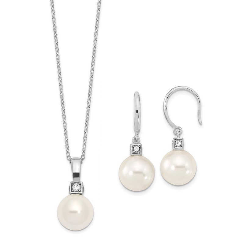 Fine Jewelry by JBD Sterling S Majestik Rh-pl 10-11mm Wht Imitat Shell Pearl & CZ Ear & Neck Se