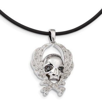 Sterling Silver Rhod Plated White & Black Dia Skull Pendant w/Rubber Cord