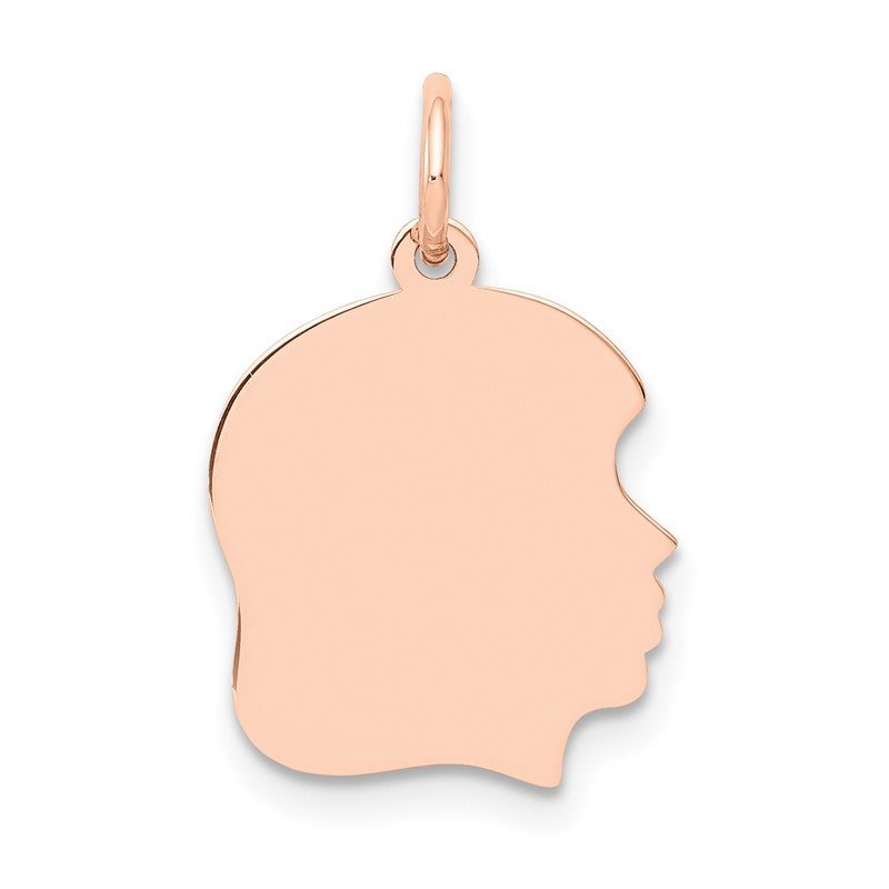 Quality Gold 14k Rose Plain Medium.011 Depth Facing Right Engraveable Girl Head Charm
