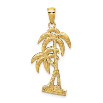 14K Polished / Textured Palm Trees Pendant