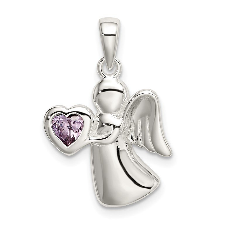 Quality Gold Sterling Silver Angel w/Light Purple CZ Heart Pendant
