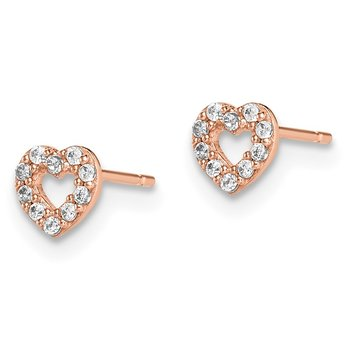 14k Madi K Rose Gold Heart CZ Post Earrings