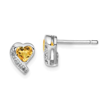 Sterling Silver Rhodium-plated Citrine and Diamond Heart Earrings