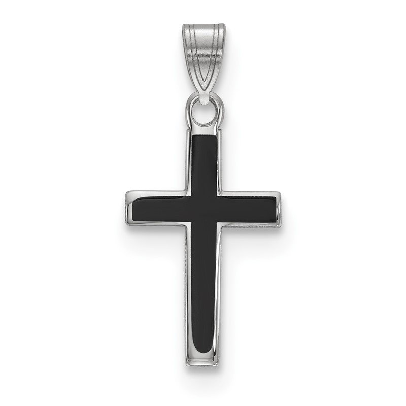 Quality Gold Sterling Silver Rhodium-plated Black Enameled Cross Charm
