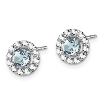 Sterling Silver Rhodium Plated White Topaz & Aquamarine Earrings