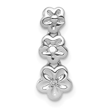 14k White Gold .01ct Diamond Flowers Pendant