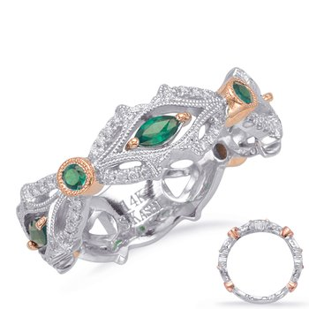 Rose & White Gold Tsavorite & Dia Ring