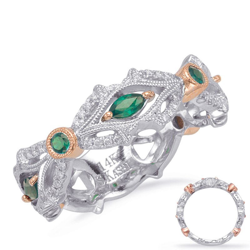 S. Kashi  & Sons Rose & White Gold Tsavorite & Dia Ring